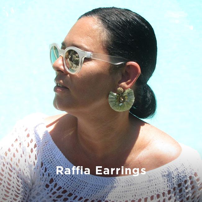 Large earrings raffia fringe