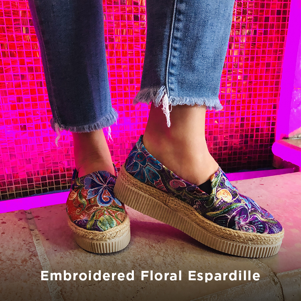 Sneaker embroidered floral espadrille