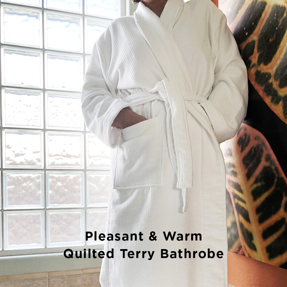 Quilted terry bathrobe unisex