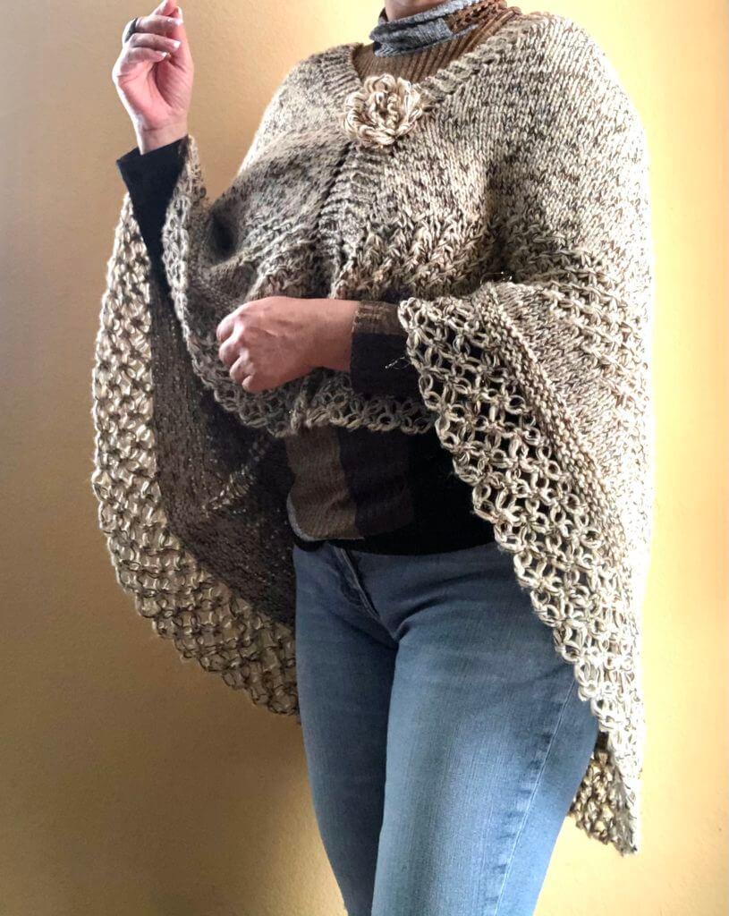 Crochet knit poncho cape handmade