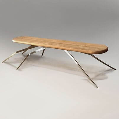 Modern table made of teak wood