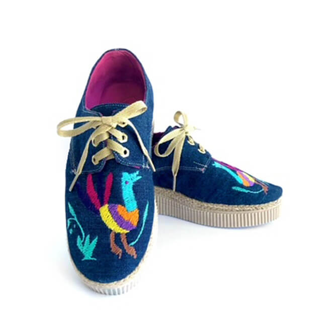Embroidered Espadrilles Sneaker in Blue Jeans