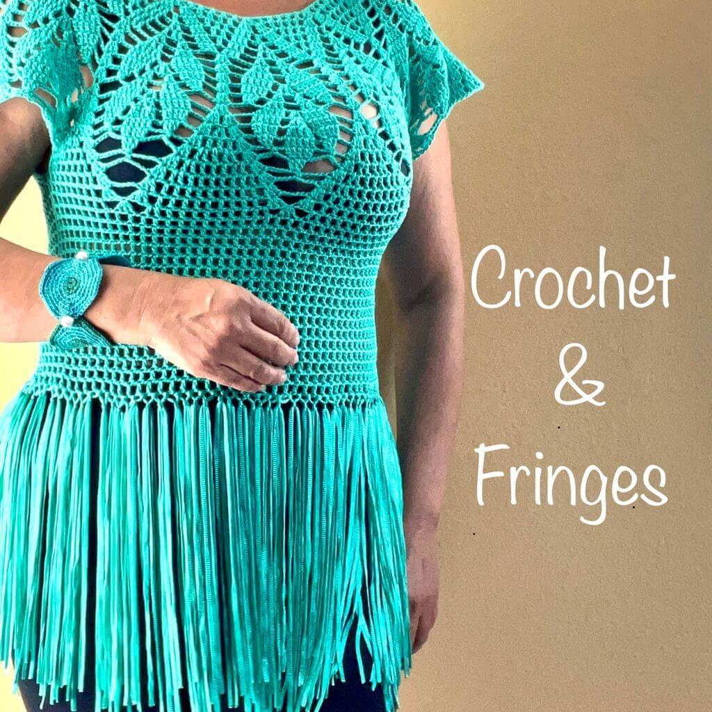 Crochet & fringes blouse handmade